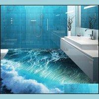 Wallpapers Décor Home & Gardencustom Mural 3D Stereoscopic Ocean Seawater Bedroom Bathroom Floor Pvc Waterproof Self-Adhesion Murals Wallpap