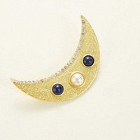 Brand Fashion Jewelry Vintage Egyptian Pharaoh Style Moon Brooch Party Sweater Brooch Moon Design Gold Color Fashon Moon Brooche