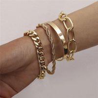 Charm Bracelets 4pcs Punk Curb Cuban Chain Set For Women Miami Boho Thick Gold Color Bangles Fashion Jewelry 2021 Kpop