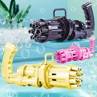 Máquina súper burbuja Automática Gatling Burbuja Pistola Juguetes Jabón de verano Agua de la burbuja eléctrica 2 en 1 para niños