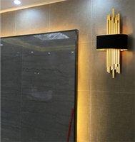 Nordic Lamp Metal Pipe Living Room Led Wall Gold Black Body Bedroom Light Corridor Sconce Loft Deco 90-260V