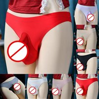 Underpants Men's Sexy Brief Sissy Pouch Panties Penis Sleeve Sheath Ice Silk G-strings Thong Fashion Bottom Shorts Underwear