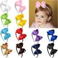 16 Paket Bows Plastik Bandı Grogren Kurdele Bantlar Hoops Saç Aksesuarları Için Bebek Kız Çocuk