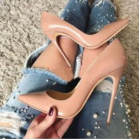 그래서 케이트 펌프 스타일 스타일 붉은 바닥 하이힐 웨딩 신발 8cm 10cm 12cm 섹시한 얕은 누드 검은 특허 가죽 여성 구두 + 먼지 가방