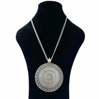 "Yutong 1 x Tibétain Silver Metal Abstrait Boho Boho Fleur Ronde Médaillon Médaillon Pendentif Colliers sur Long Link Chain Lagenlook 34 """