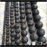 Many Size 4Mm Jewelry Making Round Natural Gemstone Beaded Stone Black Lava Beads Volcanic Rock Material Necklace Bracelet Accessory 5 Smxeg