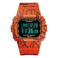 Wristwatches Men Orange Multifunction Big Dial Square LED Digital Watch Casual Gshock Sport Mens Watches Waterproof Relogio Masculino