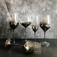 Wine Glasses High Quality Electroplate Red Glass Cup Gray Goblet Cups Crystal Champagne El Party Drinkware Wedding Gift