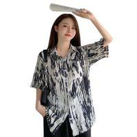 Women's T-Shirt Femmer Summer Fashion Loose Chiffion Shirt Casual Womens Tops Women Blouses Korean Vintage Tie-dyed Blouse Turndown Collar T