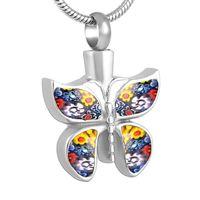펜던트 목걸이 IJD8689 빨간색 / 파랑 / 다채로운 무라노 유리 화장 목걸이 쥬얼리 재 홀더 Keepsake Butterfly Memorial Urn For Pet