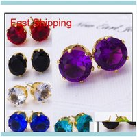 Earrings Jewelryearrings Wholesale Fashion Round Favorite Design 18 K Gold Plated Studded Candy Crystals Cz Diamond Stud Earring For Women V