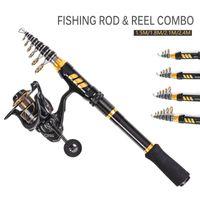 Fishing Kits Rod And Reel Carbon Fiber Aluminum Alloy Spinning Set 1.5   1.8 2.1 2.4m Combo
