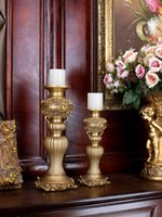 Candle Holders European Resin Candlestick Decoration Retro Gold Holder Living Room Fireplace Wine Cabinet Home Furnishings