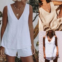 Women's Tracksuits Cotton Linen Short Sets Two Pieces Sale Sexy V Neck Sleeveless Loose T-shirt Wide Leg Suits WDC8020