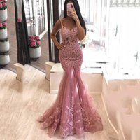 Pink Mermaid Formal Evening Dress Sleeveless Sexy V Neck Long Prom Party Gowns Custom Made Evening Party Gowns