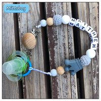 Pacifiers# Custom Name Personalized Baby Beech Wooden Chew Beads Pacifier Clips Dummy Chains Holder Soother Chain Born Teething Toy Gift