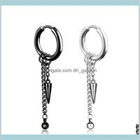 Dangle & Chandelier Jewelrystainless Steel Clip On Black Cone Chain Tassel Hoop Earrings Ear Cuff For Women Men Fashion Jewelry Will And San