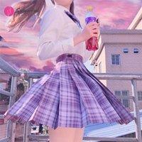 의류 세트 [포도 소다] 자주색 격자 무늬 스커트 JK 학교 유니폼 일본 소녀 여름 높은 허리 주름진 여성 학생을위한 드레스