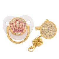 Blingonly Hrinestone Crown Fash Phage Soothie Bummy Роскошные Bling Baby Pasifier 0-18M 210407