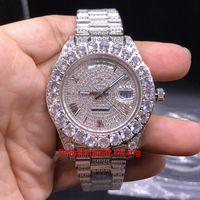 Роскошь 43 мм Claw Bezel Big Diamonds Автоматические мужские Часы, Высококачественные Нержавеющая Сталь CZ Полностью замороженный Алмазные Римские Маркеры Мужские Часы