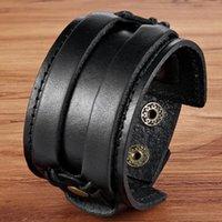 Charm-Armbänder TYO doppelte Sicherheitsfassungen schwarz braune Farbe PU-Lederarmband 18-20cm Größengürtel für Männer Geburtstagsfeier-Geschenkrabatt