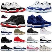 새로운 XI 11S Box 11 Mens Basketballs Shoes 2016 공간 잼 45 체육관 레드 특허 가죽 + 나일론 블랙 콩코드 11S 여성 트레이너 자정 K2R5