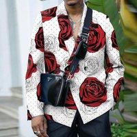 Men's Suits & Blazers 2021 Fashion Autumn Blazer Jacket Business Turn-Down Button Coat Tops Men Long Sleeve Rose Print Casual Suit Street Cl