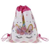 Nouveau sac cordon de licorne pour filles voyage de voyage de voyage package dessin animé école sacs à dos enfants filles anniversaire fête