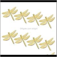 Anelli Aessies Cucina, Sala da pranzo Casa Garden Garden Consegna Drop 2021 8pcs Dragonfly Anello Gold FAI DA TE EL Sposa Banchetto Banchetto Display in metallo Napk