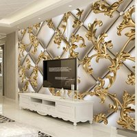 Custom Mural Wallpaper 3D Soft Package Golden Pattern European Style Living Room TV Background Wall Papers Home Decor Flower Wallpapers