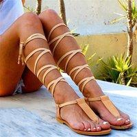 New Gladiator Women Flat Sandals Ladies Clip Toe Cross Strap Thong Sandals Shoes Woman Beach Free-binding Sandalen Dames 2021 210417
