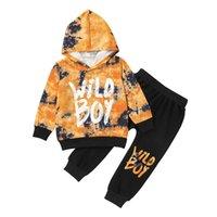 Ropa para niños Set Boys Mangas largas Sudaderas con capucha + Pantalones Otoño 2021 Últimas Ropa Boutique 1-5T Moda para niños 2 PC Trajes Brillantes