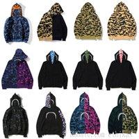Homens Zip-front de tubarão com capuz camuflagem impressão lootching macaco moletom cardigan hoodies hoodies hip hop letras manga comprida pelúcia homens mulheres casacos 0101