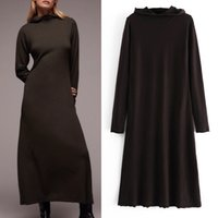 High Neck With Hood Long Knitted Dress Za Autumn Winter A-Line Long Sleeve Jersey Sweater Dress Ladies Loose Casual Dresses 210517