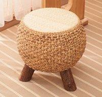 Home Rattan Shoe Bench Balcony Seat Solid Wood Sofa Chair Straw Stool Coffee Table Bedroom Dotomy