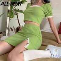 Allneon E-Girl Симпатичные ребристые квадратный воротник Случайный рукав с кружевной площадкой и мини-юбкой 2 частей наборы Y2K моды