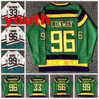 Youth Kids Mighty Ducks Movie Hockey Jersey # 33 Grig Goldberg # 96 Charlie Conway # 99 Adam Banks # 66 Gordon Bombay الفانيلة مخيط أخضر أبيض