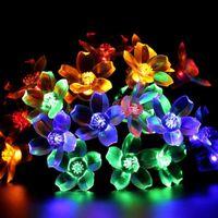 Lawn Lamps Sakura Flower Solar LED Lamp 6M 7M RGB 8 Modes Cherry Festival Lights String Outdoor Garden Guirlande Solaire Decor Light