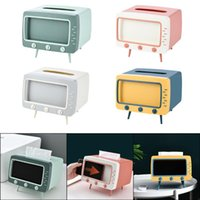 TCreative 2 In 1 TV Tissue Box Desktop Paper Holder Dispenser Storage Napkin Case Organizer With Mobile Phone Boxes & Napkins