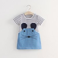 Şerit Kız Elbise Bebek Kısa Kollu Çocuk Etek Patchwork Denim Zarif Moda Giysileri Yeni Desen Kız Elbise 12 9AB M2