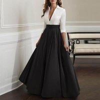 Skirts Black Satin Maxi Skirt For Women High Waist A Line Floor Length Formal Long Office Lady Plus Size Vintage Saia