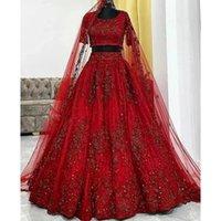 빈티지 어두운 붉은 레이스 Kolkata 인도 웨딩 드레스 두 조각 반팔 아플리케 스팽글 신부 파티 가운 Shyamalbh 2022
