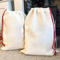 Nuevo sublimación en blanco Santa Sacks DIY Bolsa de cordón personalizado Bolsos de regalo de Navidad Transferencia de calor de bolsillo