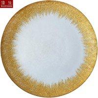Geschirr Platten Dia33 cm Runde geformte Silber Gold Aufkleber Transparent Glas Ladegerät Teller Hochzeits Party Dekoration Events Geschirr Obst
