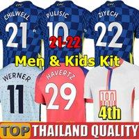 태국 21 22 Werner Pulisic Kante 축구 유니폼 마운트 Chilwell Ziyech 2021 2022 홈 블루 축구 셔츠 세트 남자 키트 키트 유니폼