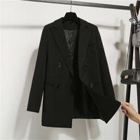 Oversized Leisure Women Blazers Autumn Office Lady Pocket Blazer Jackets For Solid Color Coat Ladies Women's Suits &