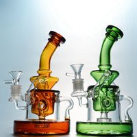 Tornado Recycler Hookahs 9 Inch 4mm Thick Glass Bongs Showerhead Perc Oil Dab Rigs Klein Recycler Water Pipes Heavy Base 14mm Female Joint With Bowl