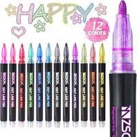 HighLighters 12 kalemler / set pürüzsüz el yazısı kalem çift çizgi rüya grafiti çizmek anahtar işareti yaratıcı flaş