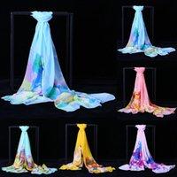 스카프 패션 여성 풀라어 쉬폰 조젯 실크 스카프 연꽃 잎 꽃 선 스크린 반다나 2021 긴 목도리 포장