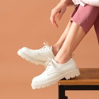 Chaussures Casual Plate-forme Casual Femme Cuir Derby Chaussures Derce-Up Fermeture Fermeture Rond Toile Flats Flats à la main 21618